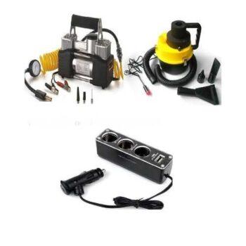 As Seen On Tv Car Air Compressor - 2 Cylinder + Wet & Dry Canister Car Vacuum Cleaner + Car Cigarette Lighter 3 Socket Splitter with USB Outputكمبروسر هواء للسيارة 2 بستم