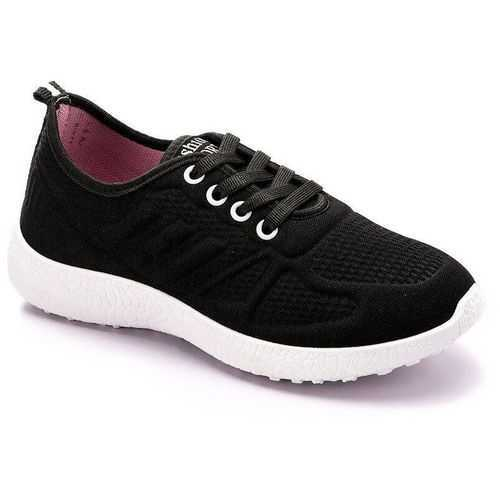 black Women's Kuchi Casual Flat Shoes sporty shape